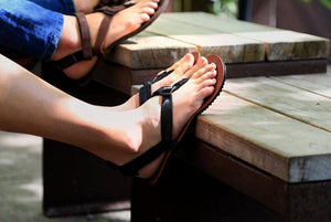 shamma sandals running sandals pictured on counter ledge