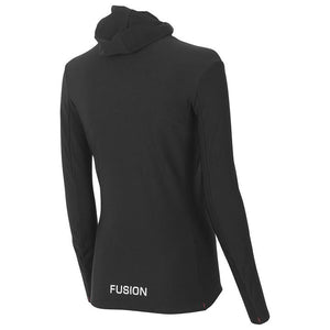 fusion women's c3 long sleeve performance running hoodie black rear