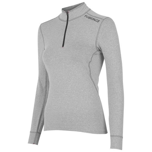 fusion c3 quarter zip women's performance running shirt gray