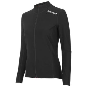 fusion women's hot zip performance running long sleeve black