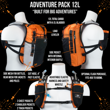 Load image into Gallery viewer, orange mud adventure pack 12l details