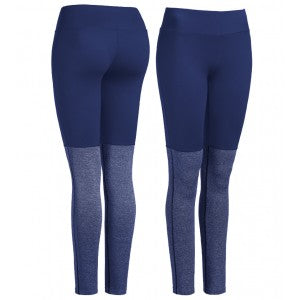 expert two-toned solid and heather running leggings navy