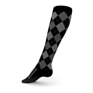 go2 argyle sports compression sock black and gray