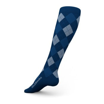 go2 argyle sports compression sock blue and gray