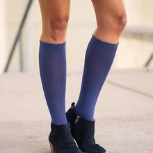 Load image into Gallery viewer, lily trotters compression socks solid french blue closeup