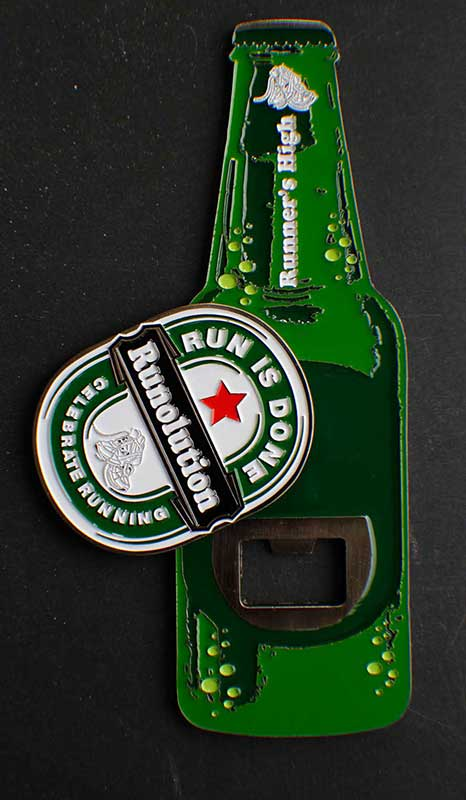running beer bottle opener with heineken shape