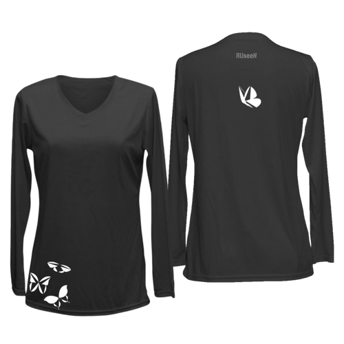 ruseen women's long sleeve running shirt butterflies black