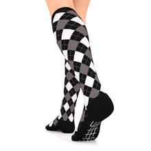 Load image into Gallery viewer, go2 compression socks argyle black and white