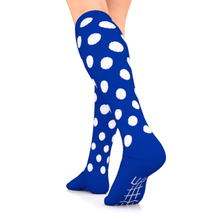 Load image into Gallery viewer, GO2 ELITE compression socks blue with white dots