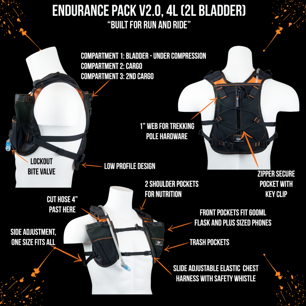 orange mud endurance 4L orange and black