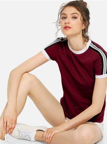 shein ringer tee burgandy women's short sleeve