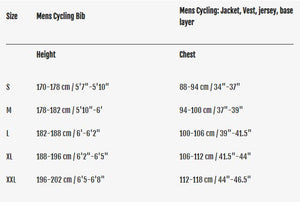 fusion cycling road racing suit unisex sizing guide
