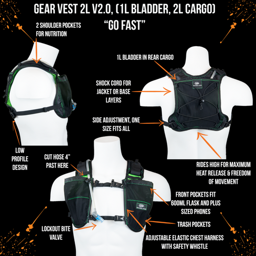 orange mud gear vest 2L black and green