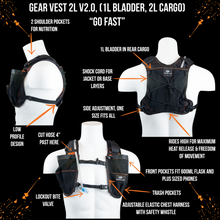 Load image into Gallery viewer, orange mud gear vest 2L black and orange