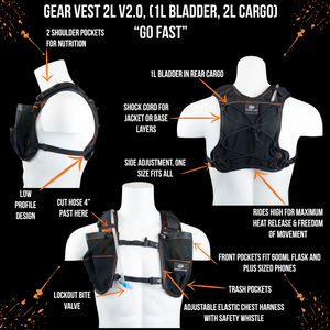 orange mud gear vest 2L black and orange