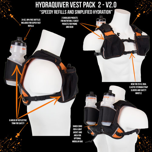 orange mud hydraquiver vest pack 2 black/orange