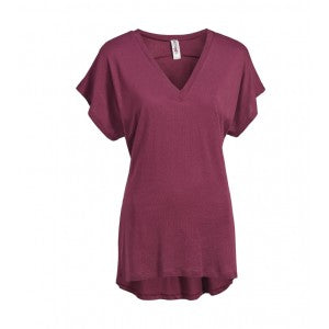 expert women's cinch back short sleeve running tee maroon