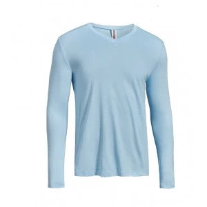 men's moca long sleeve light blue running shirt by expert apparel