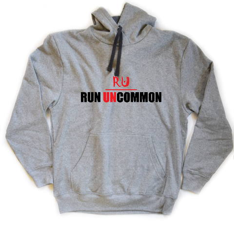run uncommon heather gray running hoodie unisex