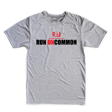 run uncommon men's short sleeve running performance tee heather grey