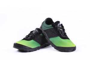 green colored minimalist trail shoe