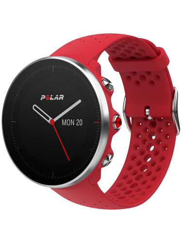 polar vantage m gps running watch red front