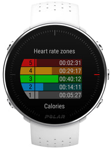 polar vantage m white front heart rate zones