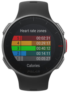 polar vantage v front black heart rate zones