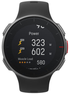 polar vantage v front black with running power status
