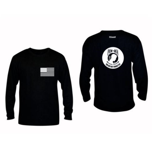 ruseen running pow-mia mens long sleeve american tee black