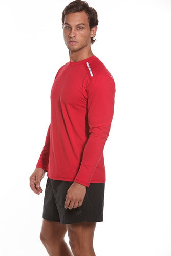 bloquv men's long sleeve running sun protection shirt red