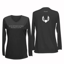 Load image into Gallery viewer, ruseen running women's long sleeve reflective running shirt winged heart black