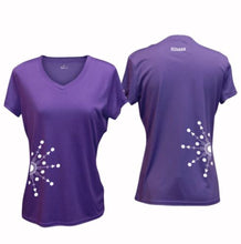 Load image into Gallery viewer, ruseen running Women's reflective performance tee Directions purple