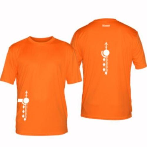 ruseen running mens paths reflective moisture wicking tee orange