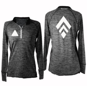 ruseen running women's long sleeve quarter zip broken diamond