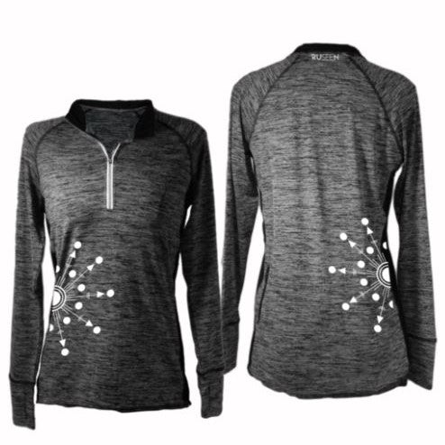 ruseen running long sleeve reflective quarter zip directions black
