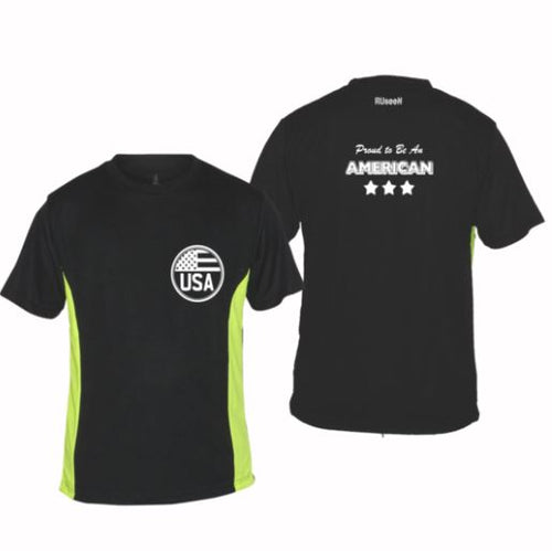 ruseen running proud american black lime performance tee