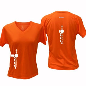 ruseen running Women's Paths performance reflective tee orange