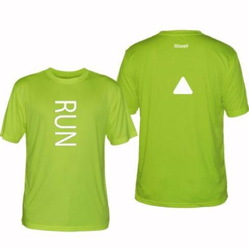 ruseen running men's run performance reflective tee lime