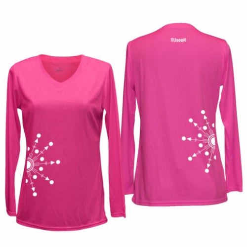 ruseen running women's reflection long sleeve shirt pink