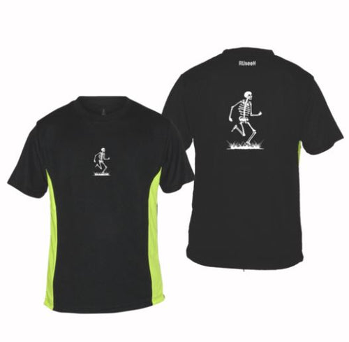 ruseen running mens skeleton performance tee black lime