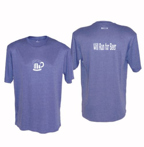 ruseen running will run for beer reflective moisture wicking tee royal heather