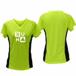 ruseen running Women's Run Squared performance reflective tee lime with black sides