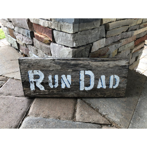 run dad reclaimed wood stencil art by run uncommon
