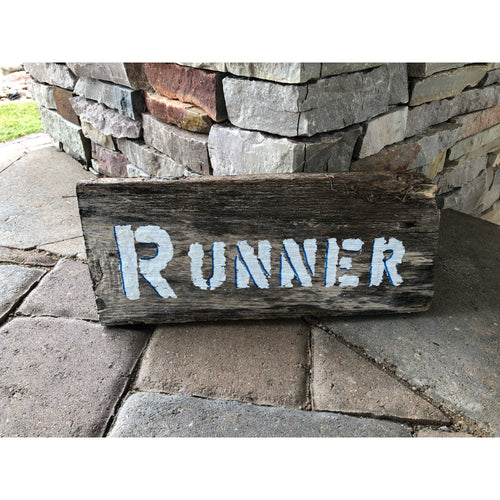 runner reclaimed wood stencil art by run uncommon