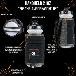 orange mud 21 oz handheld hydration bottle gray