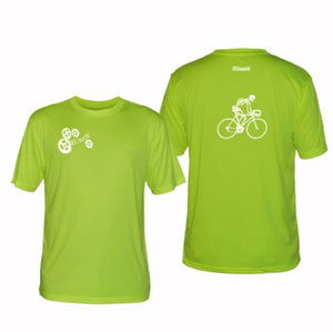 ruseen running bike skeleton mens performance tee lime