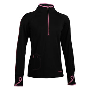 trailheads quarter zip run long sleeve women's black with pink accents