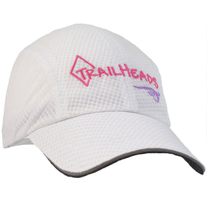 trailheads race day running cap women's white and pink logo