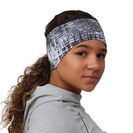 trailheads print pony women's running headband grey matrix